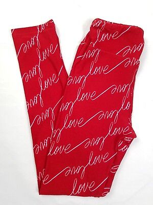 LuLaRoe Tween Leggings Red Pink Written Love Scripts