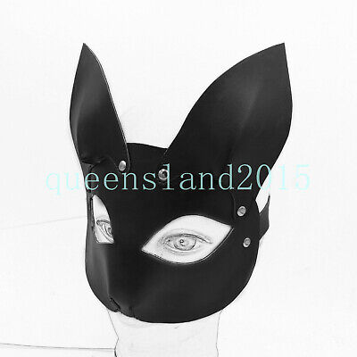New PU Leather Mouse Eye Mask Rat Blindfold Harness Roleplay Costume Head Hood