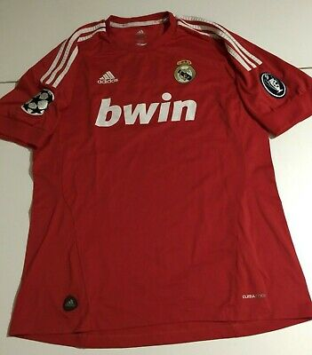 87f67737a41 Adidas Real Madrid BWIN Champions League Mens Large Red Soccer Jersey  Climacool
