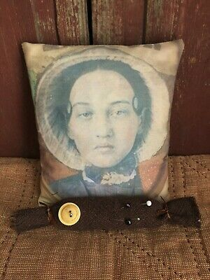 Primitive Pillow Young Girl & Early style Wool Shaker Scissor Rest Farmhouse
