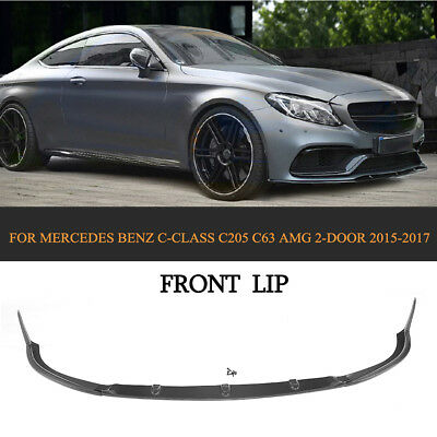 Front Bumper Lip Spoiler Carbon Fiber For Benz C-Class C205 C63 AMG Coupe 15-17