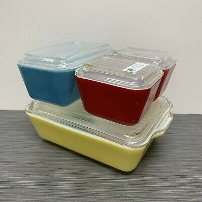 Pyrex Primary Colors Refrigerator Dish Set (2: Red 501, Blue 502, & Yellow 503)
