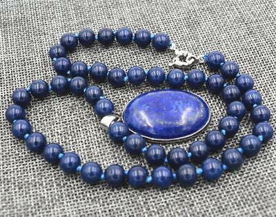 "8mm Blue Egyptian Lapis Lazuli Gemstone Beads Oval Pendant Necklace 20"" AAA"