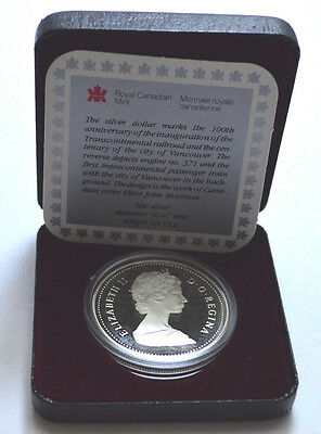1986 CANADIAN DOLLAR PROOF VANCOUVER TRAIN .500 SILVER COIN WITH BOX & CoA !!!!