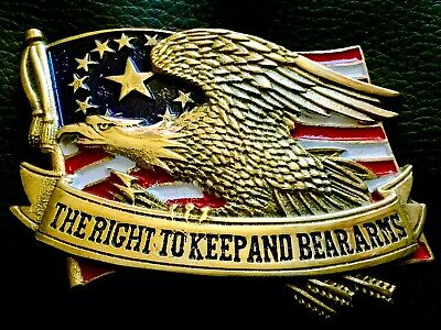 """Baron Buckles USA """"The Right To Keep & Bear Arms"""" Solid Brass Belt Buckle (1982)"""