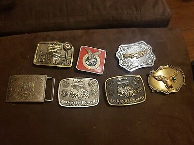Lot Of 7 Vintage Belt Buckles Texaco and more