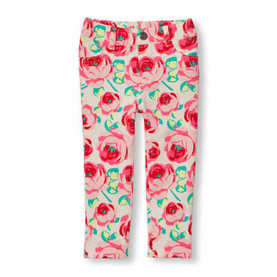 5c32edd2a0df2 NWT THE CHILDRENS Place Girls Pink Floral Print Knit Jeggings 4T ...