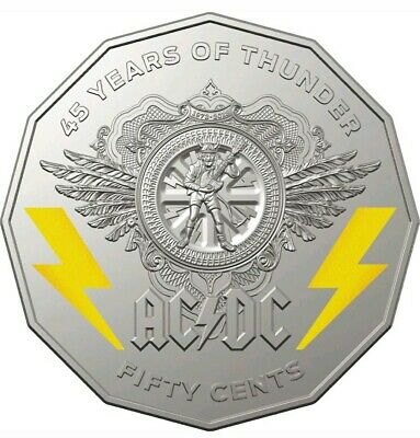 2018 AC/DC COLOURED 50c Uncirculated COIN ON PRESENTATION CARD- -SOLD OUT @ MINT