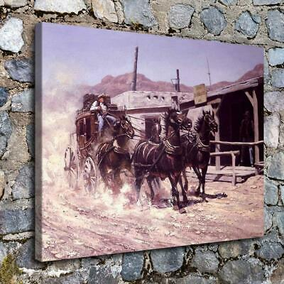 Western stagecoach Painting HD Print on Canvas Home Decor Wall Art Picture 14x18