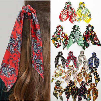 DIY Bow Streamers Elastic Hair Scrunchie Knotted Ribbon Ponytail Scarf Ties New