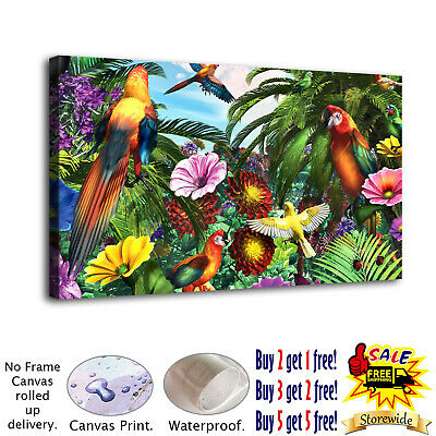 Jungle parrots Paintings HD Print on Canvas Home Decor Wall Art Pictures 12x22
