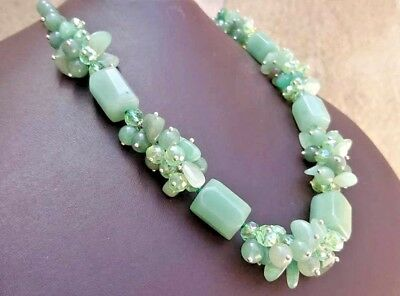 Antique Vintage Handmade Chinese Agate Jade Green Beads Rare Necklace
