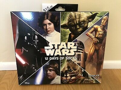 Star Wars 12 Days Of Socks Toddler Size S Shoe Size 5.5 to 8.5 New In Box Target