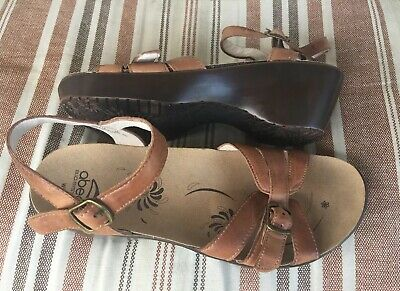 f62d632f102 Abeo Bio System DAELLE Womens Size 8 Brown Tan Leather Ankle Strap Sandals