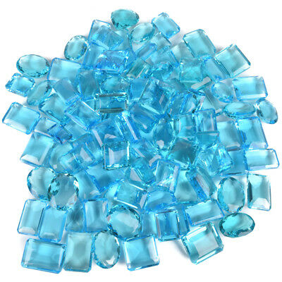 Wholesale Lot 500 Ct. Swiss Blue Topaz 6 Pcs Mix Cut Faceted Loose Gemstone Lot