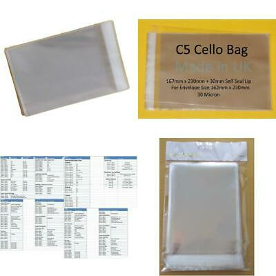 Pack Of 100 C5 Cello 167Mm X 216Mm + 30Mm Flap Cellophane Greeting Card Di