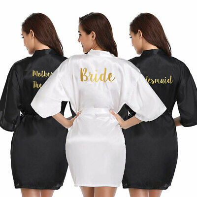 Black Personalised Satin Wedding Bath Bride Bridesmaid Robe Mother Gown Dressing