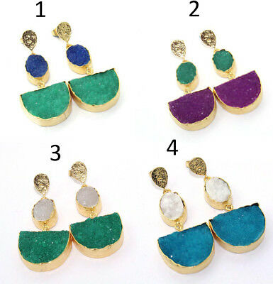 Charm Oval & D-Shape Designer Real Agate Druzy 24k Gold Plated Earring Jewelry