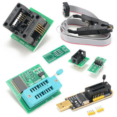 1 Set EEPROM BIOS USB Programmer CH341A + SOIC8 Clip + 1.8V & SOIC8 Adapter US