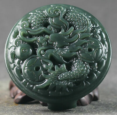 Chinese natural hetian jade hand-carved dragon design belt pendant 2.1 inch#999