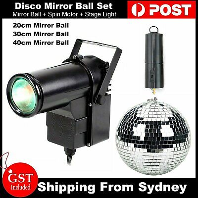 Club Disco Mirror Reflective Glass Ball + Light Spin Motor + Stage Lights Set AU
