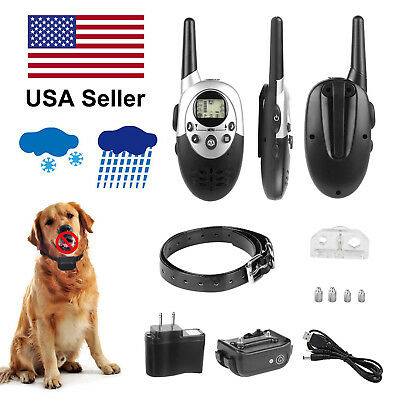 500 Yard Rechargeable Waterproof Dog Shock Vibrate Remote Training Collar 8level