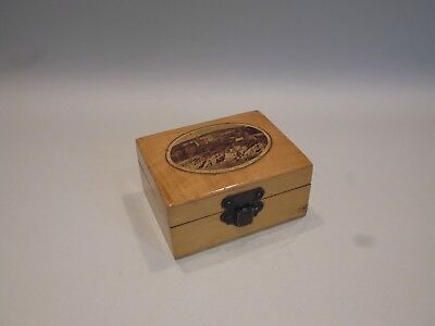 Antique Mauchline  Ware Trinket Box Circa 1890-1910 - Innellian On The Clyde Red