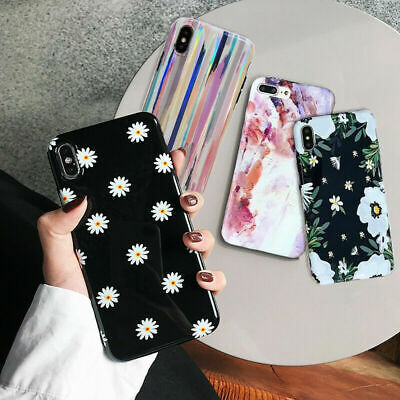 For Apple iPhone 8 7 6s 6 Plus XS Max XR Flower Pattern IMD Silicone Case Cover