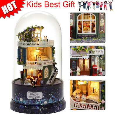 DIY Rotating Music Glass Ball Doll House Model Kits Wooden Miniature Dollhouse