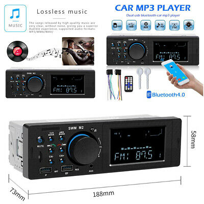 1 Din Bluetooth Car Stereo Radio MP3 Music Player FM Dual USB TF AUX + Remote