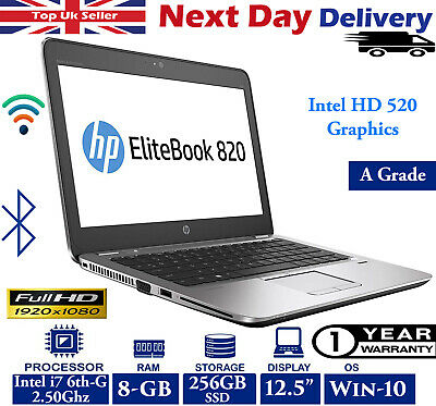 "HP EliteBook 820 G3 12.5"" FHD Laptop Intel i7 6th-Gen 2.50Ghz 8GB RAM 250GB Win"