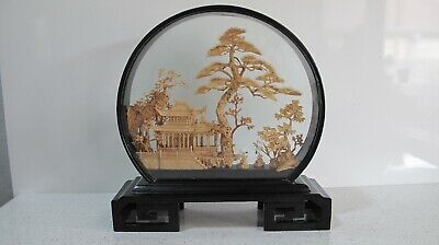 Vintage San You Chinese Carved Cork  Diorama With Cranes In Glass Display