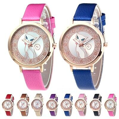 Women Lady Girls Fashion PU Leather Band Analog Quartz Casual Party Wristwatches