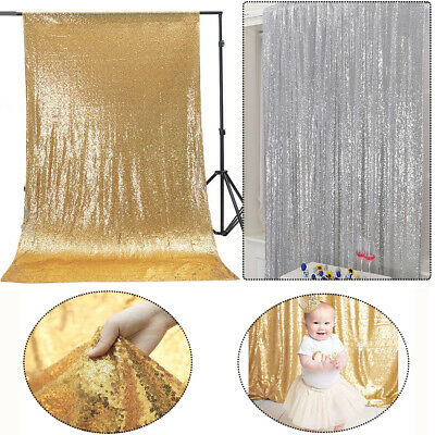 3x6FT Bling Sparking Stage Wedding Backdrop Photography Background Drape Curtain