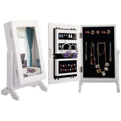 White Jewellery Mirror Cabinet Table Top Stand Armoire Jewelry Organiser Storage