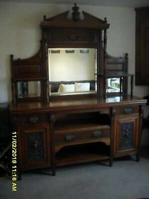 """Antique Victorian Rosewood Sideboard  Mirrored   Large  72""""x22""""x90"""""""