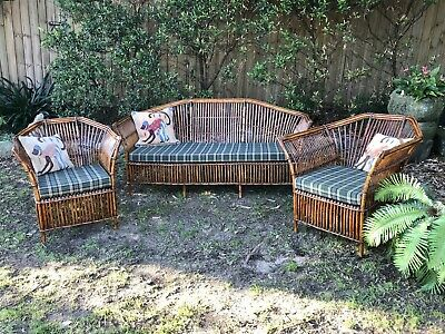 Art Deco 3pc Split Cane Bamboo Lounge Suite~3 Seater Sofa+Armchair~RARE~c1930s