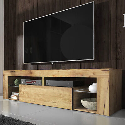 Meuble tv HUGO 140 cm chêne lancaster blanc noir gris LED optionnel moderne