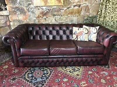 Vintage Chesterfield Leather Gasciogne 3 Seater Lounge Chair~Sofa~Burgundy