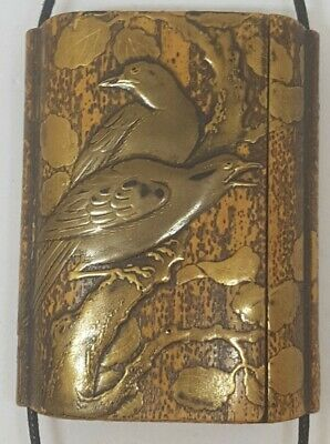 Important Rare Japanese Antique Lacquered Side Opening Inro & Original Ojime