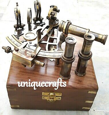 Antique Brass Sextant With Wooden Box With Small Spyglass Ship Instrument.