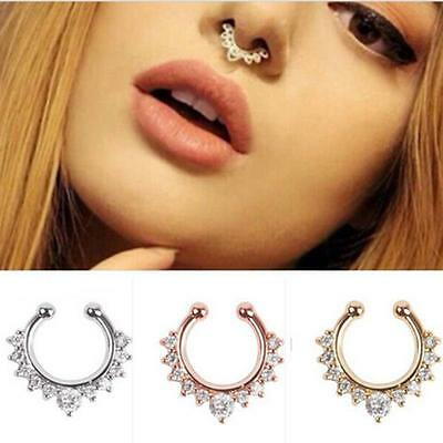 2Pcs Fashion Fake Septum Clicker Nose Ring Non Piercing Hanger Clip Jewelr W Oj