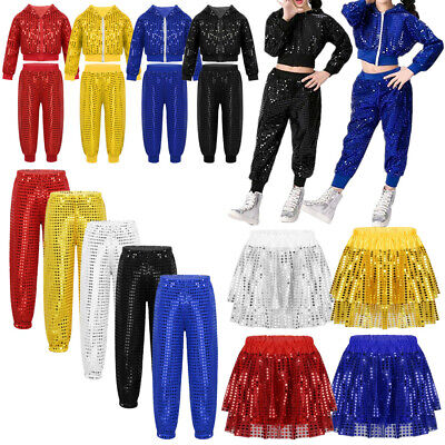 Girls Jazz Sequins Tutu Dress Dancewear Child Shiny Sequins Hip Hop Dance Outfit