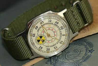 "Soviet Military Watch ""Radiation troops"" Vintage Men's Watch POBEDA + new strap"