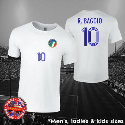 Roberto Baggio Italy Football Legend T-shirt, Men's, Ladies, Kids, World Cup