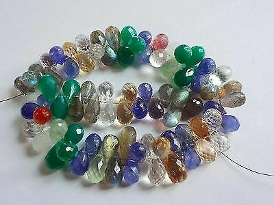"""8"""" Strand Natural Mix-Stones faceted teardrop gemstone loose beads 8-14mm 184cts"""