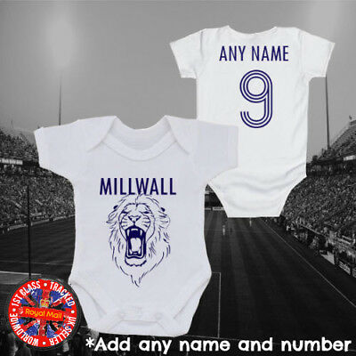 Millwall Inspired Personalised Football baby grow vest, kids t-shirt