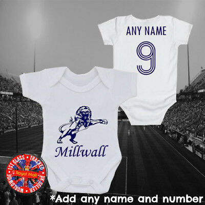 Personalised Millwall Inspired Football baby grow, kids t-shirt, Gift