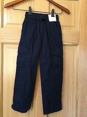 NWT Gymboree Boys Pull on Pants Navy Blue Cargo Jersey Lined Pants 5