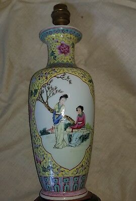 Ancien grand Pied de lampe Vase Chinois CANTON porcelaine CHINE CHINA Luminaire